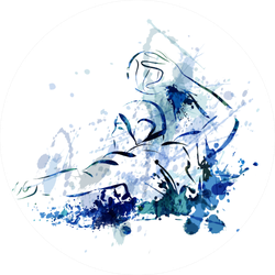 Watercolor Illustration Of A Water Polo Player In Blue Sticker