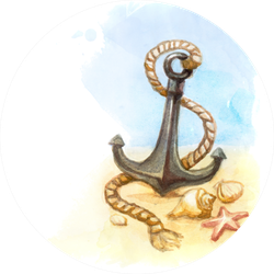 Watercolor Illustration Of Anchor And Shell Sticker