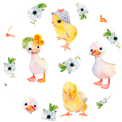 Watercolor Illustration Of Baby Chickens Sticker