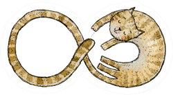 Watercolor Illustration Of Cat Shaped Infinity Sign Sticker