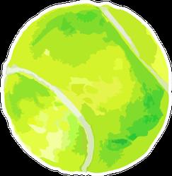 Watercolor Illustration Of Green Tennis Ball Sticker