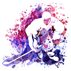Watercolor Illustration Of Hockey Player Purple Sticker