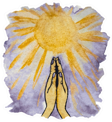 Watercolor Illustration Of Praying Hands And Sunny Sky Sticker