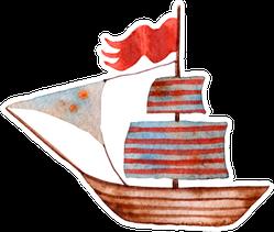 Watercolor Illustration Of Ship Striped Sails Sticker