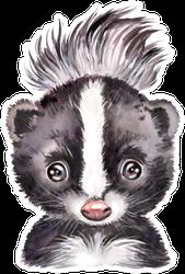 Watercolor Illustration Portrait Of A Skunk Sticker