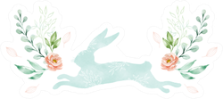 Watercolor Illustration. Silhouette Of A Running Hare Sticker