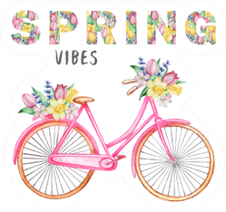 Watercolor Illustration Spring Vibes Bicycle Sticker