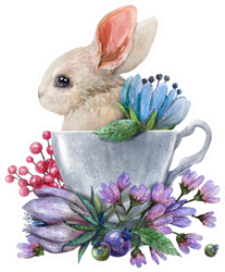 Watercolor Illustration With A Rabbit In A Cup And Flowers Sticker