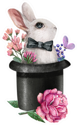 Watercolor Illustration With A Rabbit In A Hat Sticker