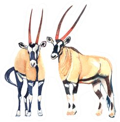 Watercolor Illustration With African Antelopes Sticker