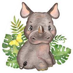 Watercolor Illustration With Little Rhino In Leaves Sticker