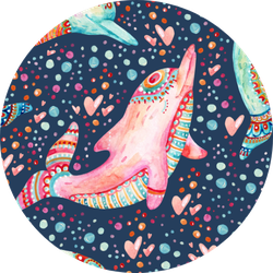 Watercolor Lovely Dolphins Pattern Sticker