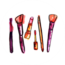 Watercolor Makeup Brushes Sticker