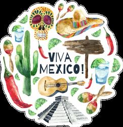 Watercolor Mexico Landmarks Sticker