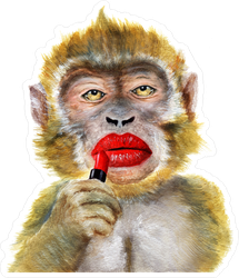 Watercolor Monkey With Red Lipstick Sticker