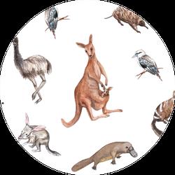 Watercolor Native Australian Animals Kangaroo Sticker