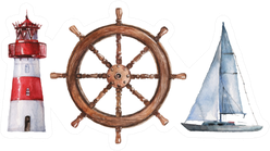 Watercolor Nautical Lighthouse, Steering Wheel And Boat Sticker