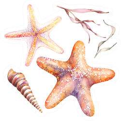 Watercolor Orange Starfishes, Seaweed Sticker