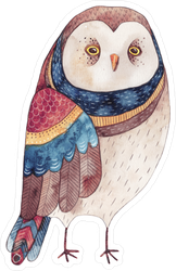 Watercolor Owl Sticker