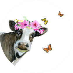 Watercolor Painted Cow With Butterflies Sticker