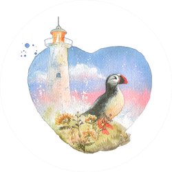 Watercolor Painted Postcard Lighthouse And Bird Puffin Sticker