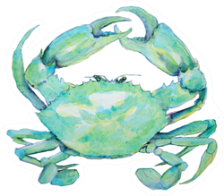 Watercolor Painting Of Blue Green Crab Sticker