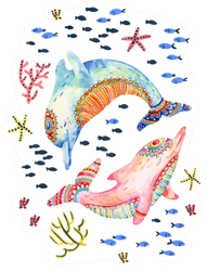 Watercolor Pair Of Lovely Dolphins Sticker