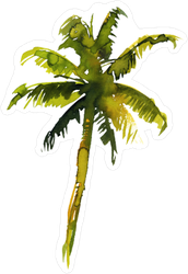 Watercolor Palm Tree Hand Painted Sticker