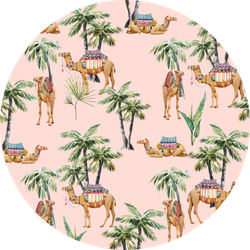 Watercolor Pattern, Camel With  Palm Trees Pink Sticker