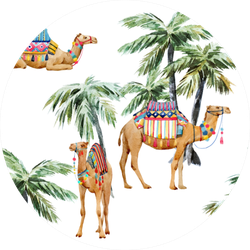 Watercolor Pattern, Camel With Palm Trees Sticker