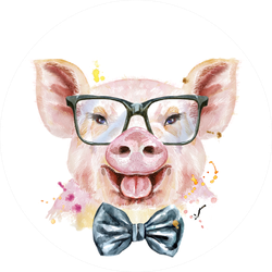 Watercolor Pink Pig With Bow-tie And Glasses Sticker