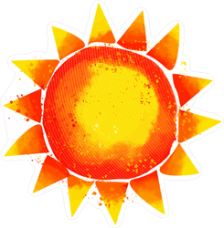 Watercolor Red Sun Sticker