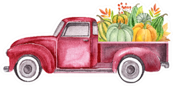 Watercolor Retro Truck With Harvest Pumpkin Vegetables Sticker
