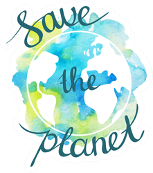 Watercolor Save the Planet Sticker