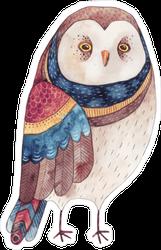 Watercolor Scowling Owl Sticker