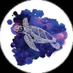 Watercolor Sea Turtle Swimming Sticker