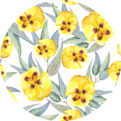 Watercolor Seamless Pattern Of Yellow Flowers Pansies Sticker