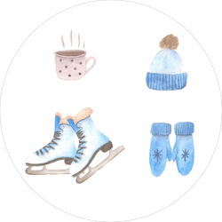 Watercolor Set Clothes And Skates Sticker