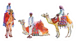 Watercolor Set Of Arabian Men And Camels Sticker