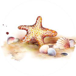Watercolor Set Of Underwater Life Objects Sticker