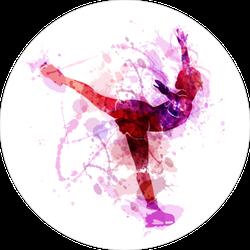 Watercolor Silhouette Figure Skater Sticker