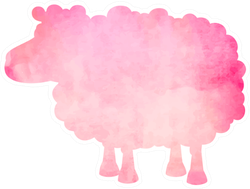 Watercolor Silhouette Of A Pink Sheep Sticker