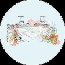Watercolor Sketch Of Baseball Stadium Illustration Sticker