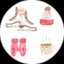 Watercolor Sketch Of Winter Sports Sticker