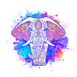 Watercolor Splash Elephant Sticker