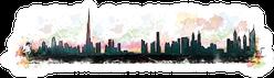 Watercolor Splash Of Dubai Skyline Sticker