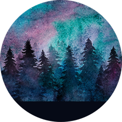 Watercolor Spruce Forest On The Starry Sky Background Sticker