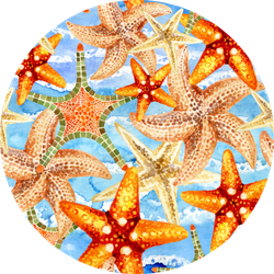 Watercolor Starfishes On Sea Waves Background Sticker