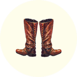 Watercolor Tall Leather Cowgirl Boots Sticker