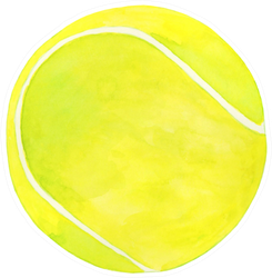 Watercolor Tennis Ball Illustration Sticker